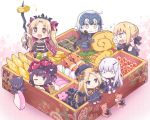 +_+ 6+girls abigail_williams_(fate/grand_order) ahoge armor artoria_pendragon_(all) bangs black_bow black_cape black_dress black_footwear black_hair black_hat black_ribbon blonde_hair blue_eyes blush bow cape chibi closed_mouth commentary_request dress eating ereshkigal_(fate/grand_order) eyebrows_visible_through_hair fate/grand_order fate_(series) floral_print food fur-trimmed_cape fur_trim gauntlets grey_eyes hair_between_eyes hair_bow hair_bun hair_ribbon hat headpiece holding horn jeanne_d'arc_(alter)_(fate) jeanne_d'arc_(fate)_(all) juubako katsushika_hokusai_(fate/grand_order) lavinia_whateley_(fate/grand_order) long_hair long_sleeves minigirl multiple_girls no_nose obentou obi octopus one_eye_closed open_mouth orange_bow osechi pale_skin parted_bangs pink_eyes pink_footwear purple_bow purple_cape red_eyes ribbon rioshi saber_alter sash shrimp silver_hair sitting skull sleeves_past_fingers sleeves_past_wrists smile sparkle stuffed_animal stuffed_toy sweat teddy_bear two_side_up v-shaped_eyebrows very_long_hair wavy_mouth white_hair wide-eyed yellow_eyes