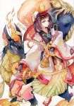 1girl bell bow_(weapon) brown_eyes brown_hair character_request fox geta highres hiroshiko_awasan japanese_clothes jingle_bell magatama miko onmyoji short_hair solo standing torii_hair_ornament traditional_media watercolor_(medium) weapon white_legwear wide_sleeves