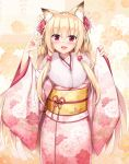 1girl animal_ears bangs blonde_hair blush commentary_request eyebrows_visible_through_hair fang floral_background floral_print flower fox_ears fox_shadow_puppet fur_collar hair_flower hair_ornament hands_up highres japanese_clothes kimono kokutou_(kazuakifca) leaf_print long_hair long_sleeves looking_at_viewer obi open_mouth original pink_kimono print_kimono red_eyes sash smile solo standing very_long_hair wide_sleeves yellow_sash
