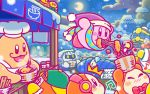 3boys backwards_hat beamed_quavers beanie bird blush_stickers bow bowl bowtie chef_kawasaki chopsticks commentary_request eating food hat headphones jitome kirby kirby_(series) meta_knight mittens moon mountain multiple_boys musical_note new_year night nintendo noodles official_art red_neckwear running scarf sleeping sleeping_bag snow tempura waddle_dee