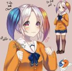 :3 bangs blush cute directional_arrow english english_text eyebrows_visible_through_hair heart multicolored orange original pigeon-toed school_uniform short_hair simple_background text tide_pod-chan twintails