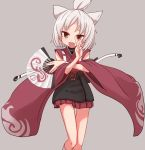 1girl :d animal_ears azur_lane bangs brown_eyes commentary_request detached_sleeves fan fang folding_fan grey_background hand_up holding holding_fan japanese_clothes long_sleeves looking_at_viewer open_mouth pleated_skirt short_hair shouhou_(azur_lane) silver_hair simple_background skirt smile socks solo standing sumiyao_(amam) thigh_gap topknot white_legwear wide_sleeves