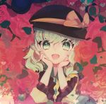 1girl black_hat bow floral_background frilled_sleeves frills green_eyes green_hair hands_on_own_face hat hat_bow hat_ribbon heart komeiji_koishi long_sleeves looking_at_viewer open_mouth ribbon silver_hair smile solo third_eye touhou tsukikusa wavy_hair wide_sleeves yellow_bow
