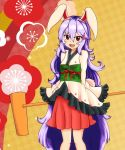 1girl :d absurdly_long_hair animal_ears blush breasts bunny_tail dress food haruirokomici japanese_clothes kimono kimono_skirt kine long_hair looking_at_viewer mochi open_mouth purple_hair rabbit_ears red_eyes reisen_udongein_inaba sleeves_past_wrists small_breasts smile solo tail touhou very_long_hair wagashi wide_sleeves