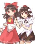 2girls ascot black_hair black_skirt bow detached_sleeves fingernails hair_bow hair_tubes hakurei_reimu hand_up hat highres holding long_hair multiple_girls notebook pen pointy_ears pom_pom_(clothes) red_bow red_eyes red_skirt ribbon-trimmed_sleeves ribbon_trim sasa_kichi shameimaru_aya shirt simple_background skirt sweatdrop tokin_hat touhou wavy_mouth white_background white_shirt wide_sleeves yellow_neckwear