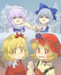 4girls aki_minoriko aki_shizuha autumn_leaves bangs blonde_hair blue_dress blue_eyes blue_hair blush bow choker cirno collared_shirt day dress forest grey_sky hair_between_eyes hair_bow hair_ornament hand_holding hat hat_ornament highres interlocked_fingers laughing lavender_hair leaf leaf_hair_ornament letty_whiterock long_sleeves looking_at_viewer mob_cap multiple_girls nature nose_blush open_mouth pointing polearm red_dress red_eyes ribbon ribbon_choker sasa_kichi scarf shaded_face shirt short_hair siblings sisters snow tearing_up touhou trident troll_face watery_eyes wavy_mouth weapon white_scarf white_shirt yellow_eyes yellow_shirt