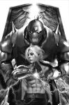 2boys abs alphonse_elric armor bangs belt blonde_hair braid brothers cowboy_shot edward_elric eyelashes full_armor fullmetal_alchemist glowing glowing_eyes half_updo hands_together highres lightning living_armor long_hair looking_to_the_side male_focus mechanical_arm miawrly monochrome multiple_boys navel nose open_gate pants parted_bangs prosthesis prosthetic_arm shirtless shoulder_spikes siblings spiked_helmet spikes the_gate_(fma) white_background