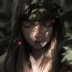 1girl bangs black_hair blunt_bangs blurry closed_eyes closed_mouth commentary dappled_sunlight day depth_of_field face forest guweiz long_hair nature original outdoors pink_lips plant shadow solo sunlight tree