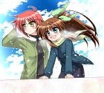 2girls arm_behind_head arm_support black_shirt breath brown_hair clouds cloudy_sky day eyebrows_visible_through_hair fuuka_reventon green_coat green_eyes green_ribbon hair_ribbon kohaku_(kohagura) leaning_forward light_particles light_smile looking_to_the_side lyrical_nanoha multiple_girls nove_(nanoha) numbers_(nanoha) open_mouth outdoors ponytail redhead ribbon shirt short_hair sky smile vivid_strike! yellow_eyes
