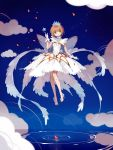 1girl antenna_hair body_jewelry brown_hair card_captor_sakura cherry_blossoms clouds crown crystal diu floating gloves green_eyes high_heels highres kinomoto_sakura magical_girl ripples short_hair smile solo star water white_gloves