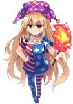 >:( 1girl american_flag_dress american_flag_legwear blonde_hair clownpiece collarbone commentary_request e.o. eyebrows_visible_through_hair full_body hand_on_hip hat highres holding jester_cap long_hair looking_at_viewer neck_ruff no_shoes red_eyes short_sleeves simple_background solo torch touhou very_long_hair white_background