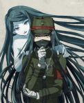 1boy 1girl bandage bandaged_hands black_hair brother_and_sister chains danganronpa gakuran ghost hat long_hair makeup mask new_danganronpa_v3 peaked_cap school_uniform shinguuji_korekiyo shinguuji_korekiyo's_sister siblings sitting smile spoilers twitter_username yellow_eyes