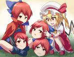 2girls blonde_hair cape disembodied_head flandre_scarlet grass hair_ribbon hat hat_ribbon jeno mob_cap multiple_girls multiple_heads red_eyes redhead ribbon sekibanki skirt squatting touhou