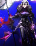 1girl armor armored_dress banner blonde_hair cape fate/apocrypha fate_(series) flag fur_collar gauntlets headpiece highres holding holding_sword holding_weapon jeanne_d'arc_(alter)_(fate) jeanne_d'arc_(fate)_(all) short_hair sword thigh-highs weapon yosi135