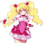 1girl bangs blonde_hair blush choker closed_mouth cowboy_shot cure_peach dress earrings eyebrows_visible_through_hair fresh_precure! hair_between_eyes hair_ornament head_tilt heart heart_earrings heart_hair_ornament jewelry kurasuke long_hair looking_at_viewer momozono_love outstretched_arm pink_dress pink_eyes precure puffy_short_sleeves puffy_sleeves red_choker short_sleeves simple_background smile solo twintails very_long_hair white_background wrist_cuffs