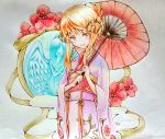 1girl aigis_(sennen_sensou_aigis) blonde_hair brown_eyes colored_pencil_(medium) floral_print flower hair_bun hrpkrizy japanese_clothes kimono long_hair looking_at_viewer nengajou new_year over_shoulder parasol sennen_sensou_aigis smile solo standing traditional_media umbrella