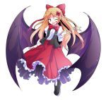 1girl ;d alphes_(style) bat_wings black_footwear black_vest blonde_hair bow bowtie collared_shirt dairi elis_(touhou) eyebrows eyebrows_visible_through_hair facial_mark facing_away fang fingernails flat_chest flower frilled_skirt frills full_body hair_bow hair_flower hair_ornament holding holding_wand index_finger_raised left-handed loafers long_hair long_skirt long_sleeves looking_at_viewer one_eye_closed open_clothes open_mouth open_vest parody pointy_ears puffy_long_sleeves puffy_sleeves red_bow red_neckwear red_skirt shirt shoes simple_background skirt smile solo star style_parody touhou touhou_(pc-98) transparent_background vest violet_eyes wand white_legwear white_shirt wings
