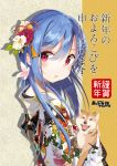 1girl alternate_costume animal blue_hair dog floral_print flower from_side hair_between_eyes hair_flower hair_ornament hinanawi_tenshi holding holding_animal japanese_clothes kimono long_hair looking_at_viewer looking_to_the_side obi red_eyes sash shiba_inu solo tetsurou_(fe+) touhou white_kimono