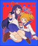 2girls :3 blonde_hair character_request copyright_request hair_ornament ke02152 long_hair looking_at_viewer looking_back middle_finger multiple_girls purple_hair school_uniform skirt tagme twintails very_long_hair violet_eyes yellow_eyes