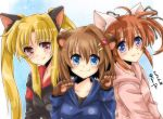 3girls :3 animal_ears bangs black_shirt blonde_hair blue_eyes blue_shirt brown_hair cat_ears closed_mouth dasuto dated dog_ears eyebrows_visible_through_hair fang fate_testarossa gloves hair_ornament hair_ribbon kemonomimi_mode long_hair long_sleeves looking_at_viewer lyrical_nanoha medium_hair multiple_girls paw_gloves paws pink_shirt portrait red_eyes ribbon shirt side-by-side smile takamachi_nanoha twintails twitter_username x_hair_ornament yagami_hayate