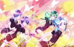 amethyst_(houseki_no_kuni) androgynous black_neckwear black_shorts blue_hair braid butterfly crystal_hair euclase_(houseki_no_kuni) gem_uniform_(houseki_no_kuni) green_eyes green_hair hair_over_one_eye heterochromia highres houseki_no_kuni jade_(houseki_no_kuni) long_hair multicolored_hair official_art purple_hair shirt short_sleeves shorts siblings twins violet_eyes white_shirt