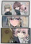 1girl 2boys anger_vein arms_around_neck astolfo_(fate) black_shirt blonde_hair blush blush_stickers brown_eyes brown_hair cape comic fate/apocrypha fate_(series) fur_trim hair_between_eyes hair_intakes hair_ornament hair_ribbon jeanne_d'arc_(fate) jeanne_d'arc_(fate)_(all) long_sleeves looking_away multiple_boys pink_hair ribbon shirt sieg_(fate/apocrypha) smug trembling walzrj