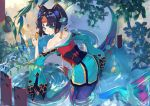 1girl aqua_eyes aqua_kimono back ball bent_over black_hair frog from_above hair_bobbles hair_ornament hair_stick headgear highres hoshino_(illyasviel) japanese_clothes kimono leaf looking_at_viewer looking_back mermaid monster_girl mouth_hold nail_polish onmyoji pink_nails short_eyebrows shouzu_(onmyoji) solo temari_ball water wide_sleeves