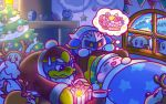 2boys animal_costume armor beanie bird blanket blush_stickers cake cellphone chimney christmas christmas_tree commentary_request creature dirty drooling earmuffs fake_antlers fake_beard fake_nose food gift gordo hal_laboratory_inc. hat hoshi_no_kirby king_dedede kirby kirby_(series) maneki-neko mario_(series) meta_knight multiple_boys nightcap nightmare_orb nintendo no_humans notepad official_art ornament penguin phanto phone pink_puff_ball prince_fluff reindeer_costume sack santa_costume sleeping soot star star_print super_mario_bros._2 sweatdrop tinsel waddle_dee