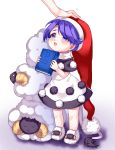1girl :3 animal antinomy_of_common_flowers black_dress blue_eyes blue_hair book capelet doremy_sweet dress full_body hat highres holding holding_book looking_up nightcap out_of_frame petting pom_pom_(clothes) satomachi sheep simple_background slippers smile solo_focus standing tail tapir_tail touhou white_background younger