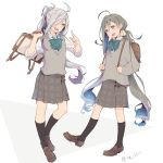 2girls ahoge alternate_costume asashimo_(kantai_collection) bag black_legwear blue_hair bow colis full_body green_bow grey_eyes grey_hair grey_skirt grey_sweater hair_between_eyes hair_bun hair_over_one_eye kantai_collection kiyoshimo_(kantai_collection) loafers long_hair low_twintails multiple_girls plaid plaid_skirt pleated_skirt ponytail school_bag school_uniform shoes silver_hair simple_background skirt standing sweater_vest twintails upper_teeth white_background