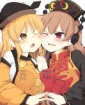 2girls black_dress black_hat blonde_hair blush breast_press breasts brown_hair commentary_request crescent dress hat holding interlocked_fingers junko_(touhou) large_breasts lolimate long_hair long_sleeves matara_okina multiple_girls one_eye_closed open_mouth orange_eyes red_eyes simple_background sweat tabard tassel touhou trembling upper_body white_background wide_sleeves