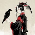 1boy bird bird_on_hand black_hair crow feathers grey_eyes hair_feathers japanese_clothes kogarasumaru_(touken_ranbu) male_focus ponytail smile touken_ranbu twoframe