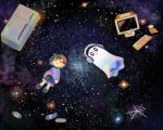 blue_shirt blue_shorts brown_hair cd character_request closed_eyes computer_keyboard ctr facing_viewer ghost headphones long_sleeves monitor nebula parted_lips refrigerator sasa_kichi shirt shoes shorts silk sky solid_oval_eyes space spider_web star_(sky) starry_sky undertale