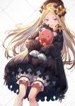 1girl abigail_williams_(fate/grand_order) bangs black_bow black_dress black_hat blonde_hair bloomers blue_eyes bow butterfly commentary_request dress fate/grand_order fate_(series) forehead hair_bow hat holding holding_stuffed_animal long_hair long_sleeves looking_at_viewer orange_bow parted_bangs parted_lips polka_dot polka_dot_bow sleeves_past_wrists sola_(solo0730) solo stuffed_animal stuffed_toy teddy_bear underwear very_long_hair white_bloomers