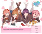 4girls bangs black_legwear blazer blue_eyes blue_skirt blunt_bangs bow brown_hair choice cupcake doki_doki_literature_club eyebrows_visible_through_hair food green_eyes hair_bow hair_ribbon hand_on_own_chin heart heart_background holding imjayu jacket knife legs_up long_hair long_sleeves looking_at_viewer lying monika_(doki_doki_literature_club) multiple_girls natsuki_(doki_doki_literature_club) noose on_stomach open_mouth pink_eyes pink_hair ponytail purple_hair red_bow red_neckwear red_ribbon ribbon sayori_(doki_doki_literature_club) short_hair skirt smile spoilers tablet tomato twintails twitter_username violet_eyes white_bow white_footwear yuri_(doki_doki_literature_club)
