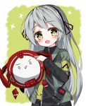 1girl :d bangs black_hairband black_ribbon black_shirt blush eyebrows_visible_through_hair girls_frontline green_eyes green_jacket grey_hair hair_ribbon hairband head_tilt highres holding jacket long_hair long_sleeves looking_at_viewer open_clothes open_jacket open_mouth pointing ribbon shirt short_over_long_sleeves short_sleeves smile solo star star-shaped_pupils symbol-shaped_pupils tandohark ump40_(girls_frontline) very_long_hair walkie-talkie