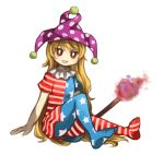 1girl :d american_flag_dress american_flag_legwear bangs blonde_hair clownpiece eyebrows_visible_through_hair hat jester_cap long_hair no_shoes open_mouth pantyhose red_eyes sasa_kichi short_sleeves simple_background sitting smile solo torch touhou very_long_hair white_background