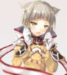 1girl animal_ears bangs blunt_bangs bodysuit cat_ears embarrassed eyebrows gloves highres hinot hood long_sleeves looking_at_viewer niyah open_mouth ribbon short_hair silver_hair simple_background smile solo white_gloves xenoblade xenoblade_2 yellow_bodysuit yellow_eyes