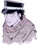 1boy black_hair facial_scar golden_kamuy hat male_focus military military_uniform mouth_scar nose_scar peaked_cap scar scar_on_cheek scarf sennin_(inoinox) short_hair solo sugimoto_saichi uniform yellow_eyes