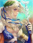 1boy blonde_hair blue_eyes bow curly_hair flower gem gloves jeekyl_sur leaf long_hair low_ponytail male_focus original solo sparkle staff