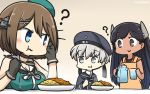 3girls :> ? apron beret black_eyes black_gloves black_hair blue_eyes blush breast_rest breasts brown_hair commentary_request cup curry dated drinking_glass eating food gloves grey_eyes hair_ornament hamu_koutarou hat highres i-400_(kantai_collection) kantai_collection long_hair maya_(kantai_collection) multiple_girls pitcher remodel_(kantai_collection) sailor_collar short_hair silver_hair spoon tan x_hair_ornament z1_leberecht_maass_(kantai_collection)