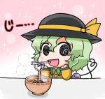 1girl :d black_eyes black_hat blush bowl chibi commentary_request drinking_straw elbows_on_table eyeball eyebrows_visible_through_hair food frilled_shirt_collar frilled_sleeves frills gradient gradient_background green_hair hair_between_eyes hat hat_ribbon heart heart_of_string komeiji_koishi long_sleeves looking_at_viewer noai_nioshi open_mouth ribbon shirt short_hair smile solo sparkle_background staring steam string third_eye touhou two-tone_background udon wing_collar yellow_ribbon yellow_shirt