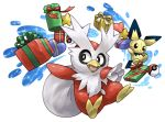 box character_doll commentary_request delibird gift heart-shaped_box no_humans pearl7 pichu poke_ball pokemon pokemon_(creature) sack simple_background sparkle white_background