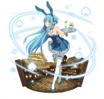 1girl animal_ears asuna_(sao-alo) blue_dress blue_eyes blue_footwear blue_hair blue_hairband blush breasts choker cleavage collarbone dress fake_animal_ears floating_hair full_body hairband leaning_forward long_hair looking_at_viewer medium_breasts pointy_ears rabbit_ears short_dress sideboob simple_background skirt_hold sleeveless sleeveless_dress smile solo standing strapless strapless_dress sword_art_online thigh-highs very_long_hair white_background white_legwear wrist_cuffs zettai_ryouiki