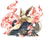 aura claws commentary_request dog full_body no_humans pearl7 pokemon pokemon_(creature) simple_background solo stoutland white_background