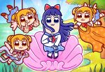 4girls :3 absurdres artist_name birth_of_venus bkub_(style) blue_eyes blue_hair blue_skirt bow brown_eyes brown_hair chibi clone commentary emphasis_lines fairy_wings fine_art_parody flying grass hair_bow hair_ornament hair_scrunchie highres jackie_yanes long_hair looking_at_viewer middle_finger multiple_girls outdoors parody pipimi pleated_skirt poptepipic popuko red_bow rope scarf school_uniform scrunchie serafuku shell skirt sparkle star_(sky) suspended tree twitter_username two_side_up water wings yellow_scrunchie