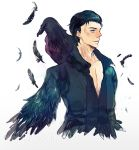 1boy bird black_hair character_name crow diaval disney feathered_wings feathers grey_eyes male_focus maleficent_(movie) mikann0206 scar simple_background sleeping_beauty solo white_background wings