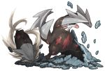 attack claws commentary_request debris digging dirt drill excadrill no_humans pearl7 pokemon pokemon_(creature) simple_background standing white_background