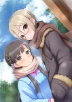 2girls :3 :o black_eyes blonde_hair blue_jacket blue_sky braid breath closed_mouth clouds cloudy_sky coat commentary_request day dutch_angle fur_trim glasses grey_eyes grey_hair grey_jacket hair_ornament hands_in_sleeves highres idolmaster idolmaster_cinderella_girls jacket kobayakawa_sae long_sleeves looking_at_viewer multiple_girls negija outdoors parted_lips pink_scarf red-framed_eyewear red_scarf scarf shiomi_shuuko short_hair sky smile tree winter_clothes winter_coat