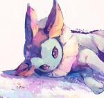 black_eyes grey_background looking_at_viewer lying manino_(mofuritaionaka) no_humans on_side pokemon pokemon_(creature) simple_background solo vaporeon